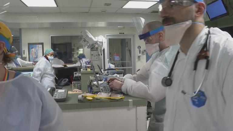 An emergency room at a New York hospital deals with coronavirus cases. (WTTW News via CNN)