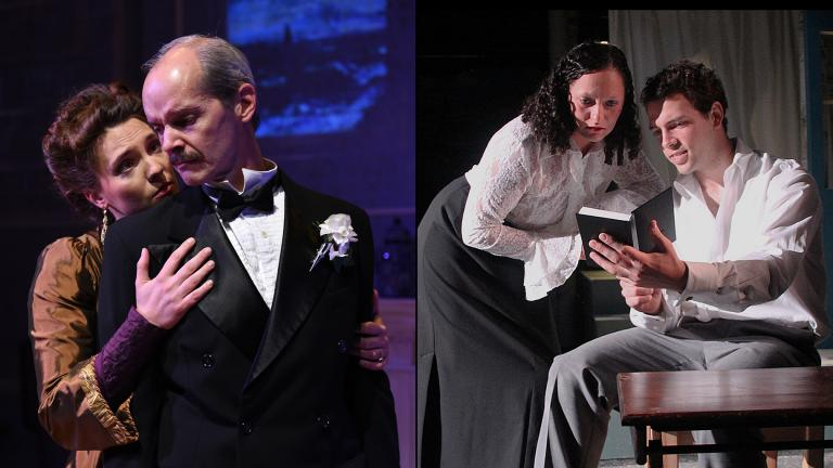 "Eliza Stoughton and Mark Ulrich in ""Howards End,"" left, and Emma Brayndick and Miles Borchard ""Sons and Lovers."" (Photos by Michael Courier, left, and Lisa Lennington)"