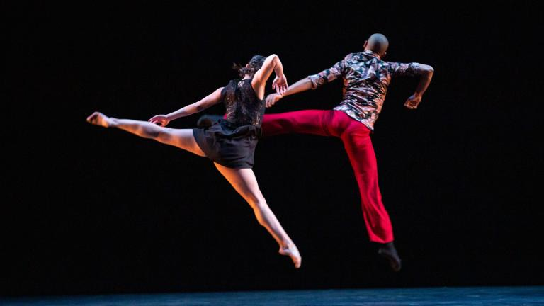 "Hubbard Street Dancer Alicia Delgadillo and Malpaso Dance Company Artistic Director Osnel Delgado in ""Ocaso"" by Osnel Delgado. (Photo by Cheryl Mann)"