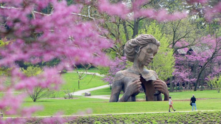 """One of the """"Human+Nature"""" sculptures at Morton Arboretum. (Courtesy of Morton Arboretum)"""