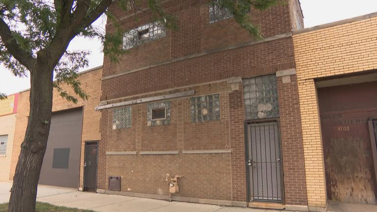 The exterior of a warehouse in the Humboldt Park neighborhood of Chicago, where officials say an illegal party was shut down over the weekend. (WTTW News)