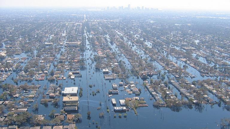 View of inundated areas in New Orleans following breaking of the levees surrounding the city as the result of Hurricane Katrina. New Orleans. Photo was taken Sept. 11, 2005. (Lt. Cmdr. Mark Moran, NOAA Corps, NMAO/AOC)