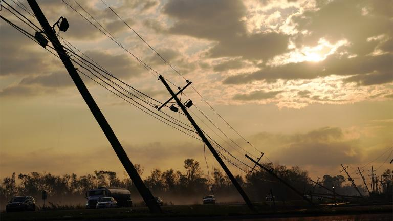 Downed power lines slump over a road in the aftermath of Hurricane Ida, Friday, Sept. 3, 2021, in Reserve, La. (AP Photo / Matt Slocum)