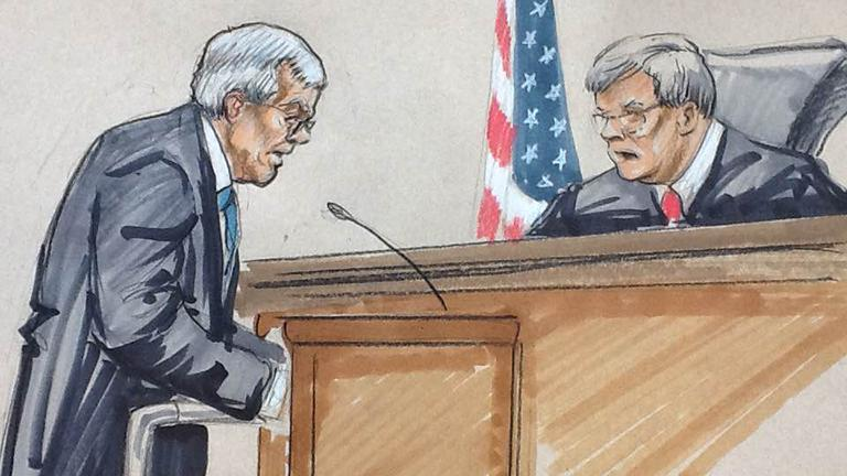 Courtroom sketch by Thomas Gianni shows Dennis Hastert standing with the aid of a walker while U.S. District Judge Thomas Durkin asks him questions about molestation.
