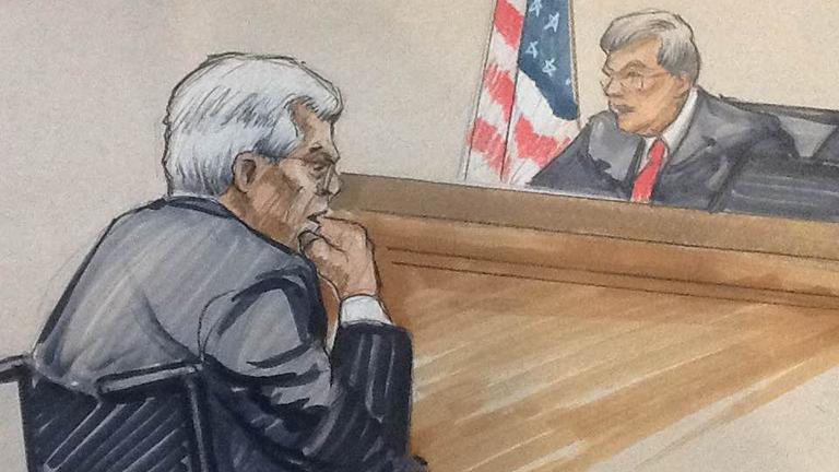 Courtroom sketch by Thomas Gianni shows Judge Thomas Durkin pronouncing the sentence upon Dennis Hastert.