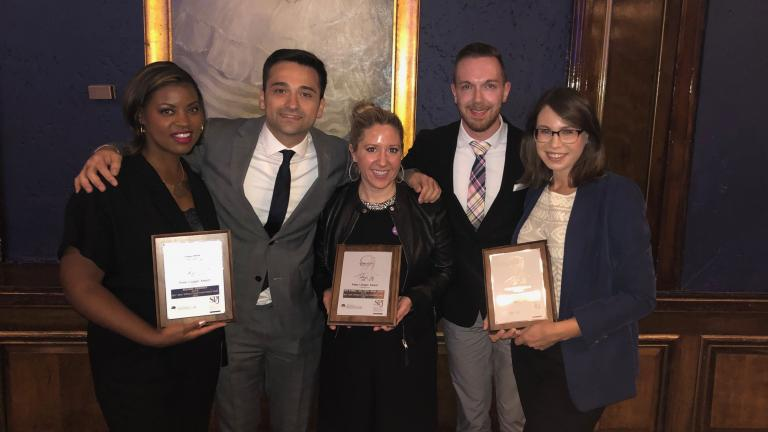 """Chicago Tonight"" 2018 Lisagor Award winners Brandis Friedman, Paris Schutz, Amanda Vinicky, Nick Blumberg and Nicole Cardos attend the awards ceremony on Friday, May 10, 2019."