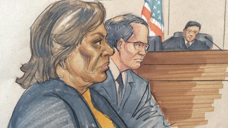 Courtroom sketch of Barbara Byrd-Bennett (Thomas Gianni)