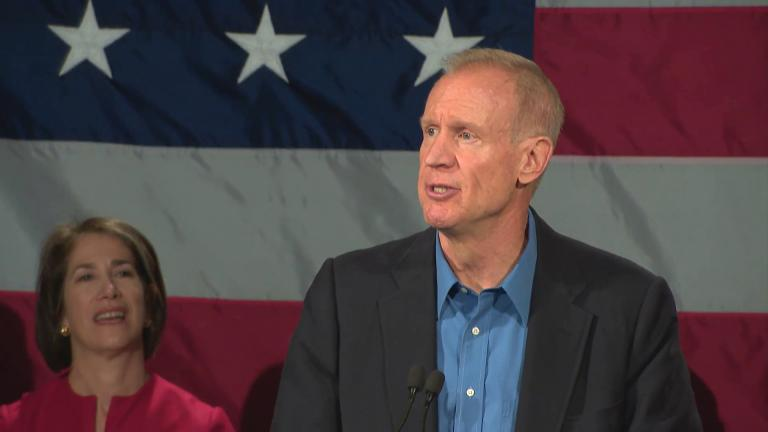 Gov. Bruce Rauner delivers his concession speech on Nov. 6, 2018 after being defeated in the general election by Democrat J.B. Pritzker.