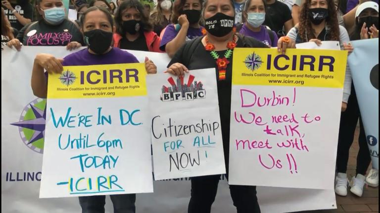 Thousands of immigrant-rights advocates, including some with Illinois organizations, protest in Washington, Sept. 23, 2021. (Courtesy Illinois Coalition for Immigrant and Refugee Rights)