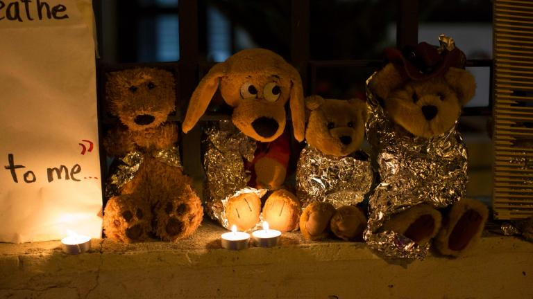 In this Wednesday, June 20, 2018, file photo, stuffed toy animals wrapped in aluminum foil representing migrant children separated from their families are displayed in protest in front of the United States embassy in Guatemala City. (AP Photo / Luis Soto, File)