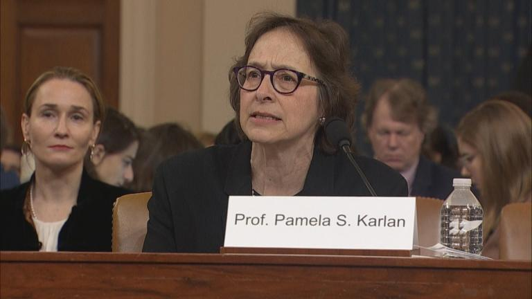 Stanford University law professor Pamela Karlan testifies before the House Judiciary Committee on Wednesday, Dec. 4, 2019. (WTTW News)