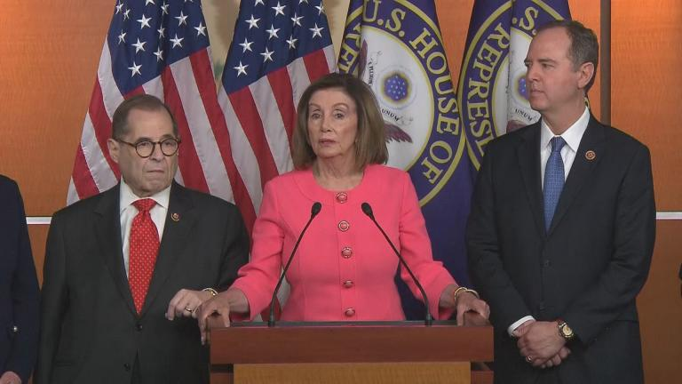 House Speaker Nancy Pelosi announces the impeachment managers in Washington, D.C., on Wednesday, Jan. 15, 2020. (WTTW News via CNN)