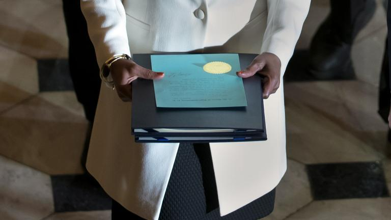 Clerk of the House Cheryl Johnson carries the articles of impeachment against President Donald Trump to the Senate, on Capitol Hill in Washington, Wednesday, Jan. 15, 2020. (AP Photo / J. Scott Applewhite)