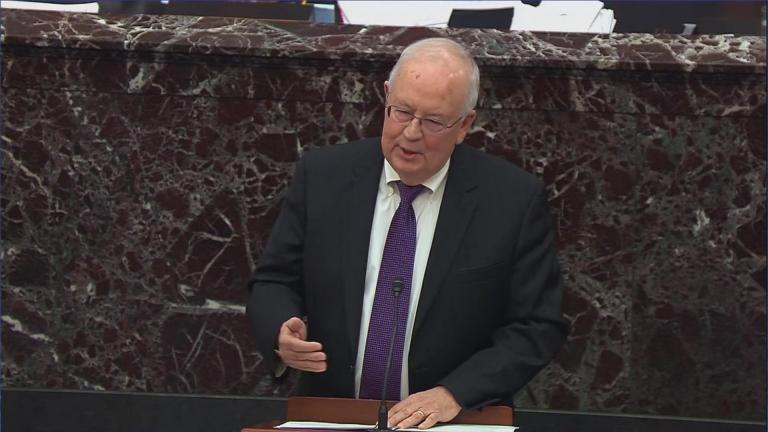 Ken Starr, an attorney for President Donald Trump, speaks during the impeachment trial of Trump on Monday, Jan. 27, 2020. (WTTW News via CNN)