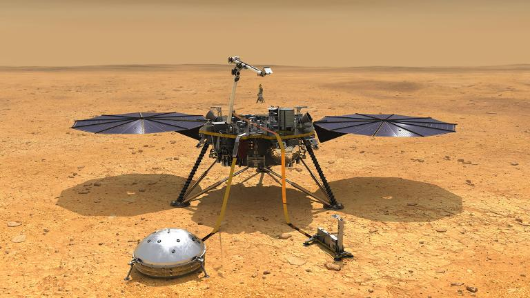 This artist's concept depicts NASA's InSight lander after it has deployed its instruments on the Martian surface. (Credit: NASA/JPL-Caltech)