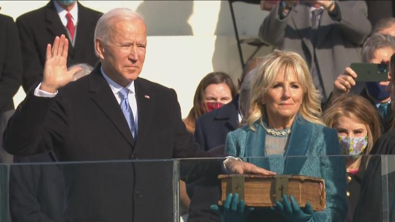 Joe Biden is sworn in as president during the 59th Presidential Inauguration at the U.S. Capitol on Wednesday, Jan. 20, 2021. (WTTW News via CNN)