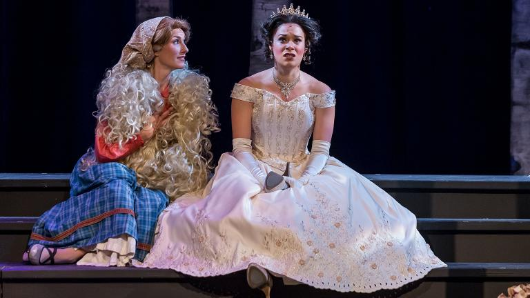 "11)	Alexis Armstrong, left, and Kelly Britt in Music Theater Works' ""Into the Woods."" (Photo credit: Brett Beiner)"
