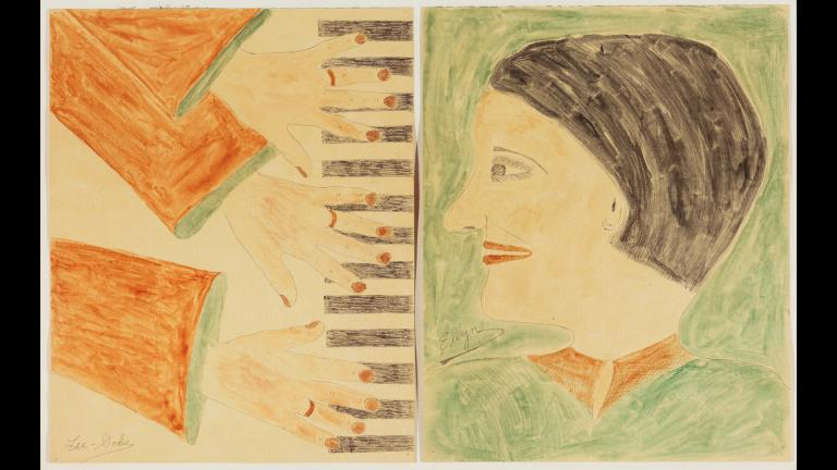 Lee Godie (American, 1908-1994). Three Hands on a Piano, n.d. Watercolor and ink on paper, 20 x 16 in. (50.8 x 40.6 cm). Ellyn in Profile, n.d. Watercolor and ink on paper, 20 x 16 in. (50.8 x 40.6 cm). Collection of Victor F. Keen