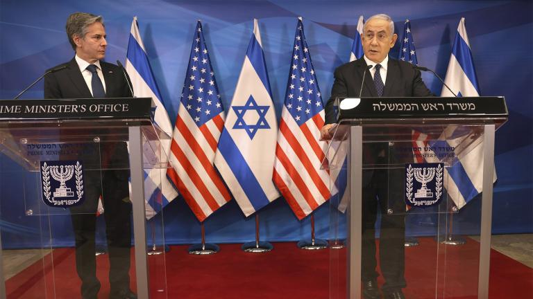 Israeli Prime Minister Benjamin Netanyahu, right, and U.S. Secretary of State Anthony Blinken hold a joint press conference in Jerusalem on Tuesday, May 25, 2021, days after an Egypt-brokered truce halted fighting between the Jewish state and the Gaza Strip's rulers Hamas. (Menahem Kahana / Pool Photo via AP)