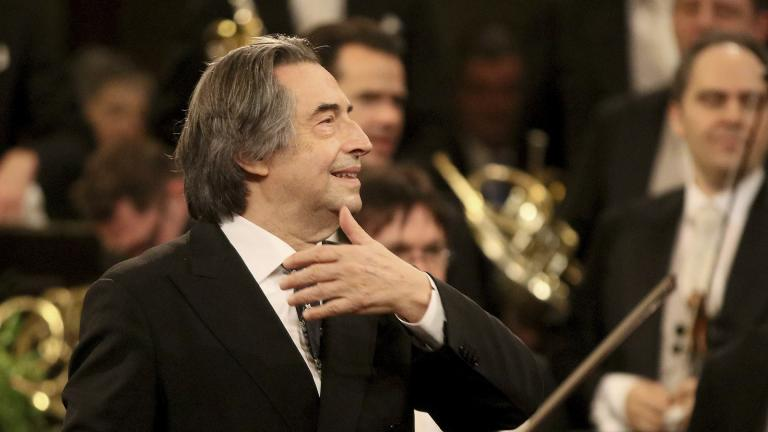 In this Jan. 1, 2018 file photo, Italian Maestro Riccardo Muti conducts the Vienna Philharmonic Orchestra during the traditional New Year's concert at the golden hall of Vienna's Musikverein, Austria. (AP Photo / Ronald Zak, File)