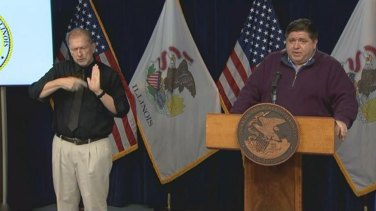 Gov. J.B. Pritzker speaks to the media during his daily press briefing on COVID-19 on Tuesday, Nov. 3, 2020. (WTTW News)