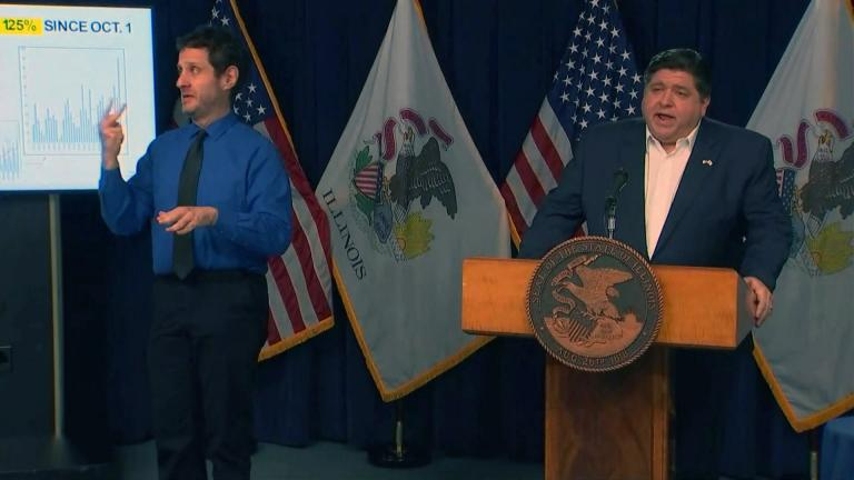 Gov. J.B. Pritzker speaks to the media during his daily press briefing on COVID-19 on Thursday, Nov. 5, 2020. (WTTW News)