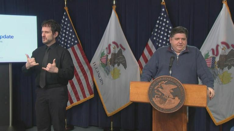 J.B. Pritzker talks Monday, Dec. 14, 2020 during the state's daily COVID-19 briefing. (WTTW News)
