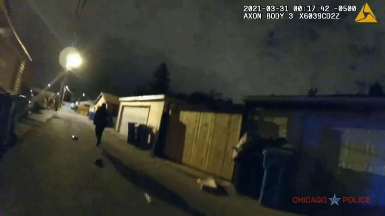 An image taken from a five-minute compilation video, released by the Chicago Police Department on April 28, which shows the March 31 police shooting of Anthony Alvarez in the Portage Park neighborhood. (WTTW News via CPD)