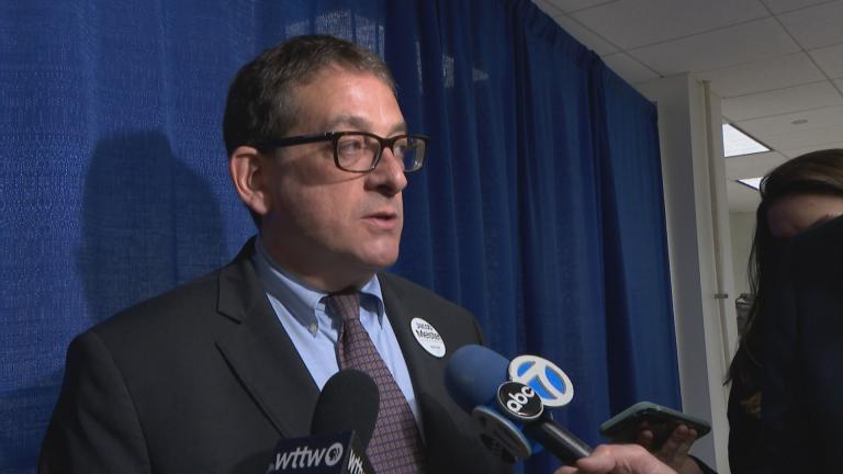 Jacob Meister, a Democratic candidate for Cook County circuit court clerk, speaks to reporters on Monday, Nov. 25, 2019. (WTTW News)