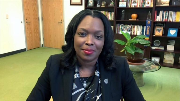 "Chicago Public Schools CEO Janice Jackson appears on ""Chicago Tonight"" via Zoom on Monday, May 3, 2021. (WTTW News)"