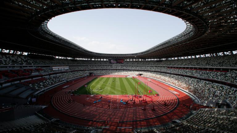 In this May 9, 2021, file photo, a general view of National Stadium during an athletics test event for the Tokyo 2020 Olympics Games in Tokyo. IOC officials say the Tokyo Olympics will open on July 23 and almost nothing now can stop the games from going forward. (AP Photo / Shuji Kajiyama, File)