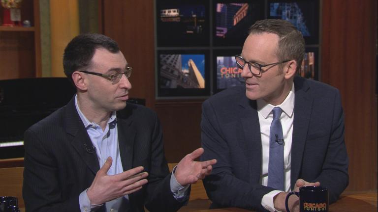 "White Sox broadcaster Jason Benetti, left, and Cubs broadcaster Len Kasper preview the season on ""Chicago Tonight"" on Feb. 4, 2020. (WTTW News)"