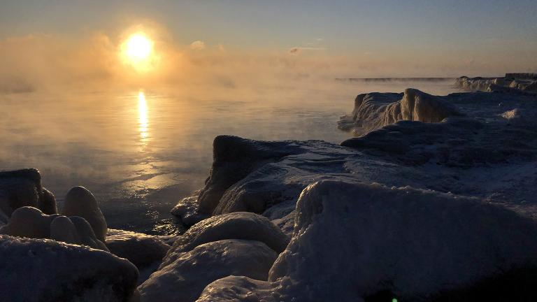 "An icy Lake Michigan on Wednesday, Jan. 30. ""I couldn't resist an early morning walk,"" said Chicago Tonight's Jay Shefsky. (Jay Shefsky / Chicago Tonight)"