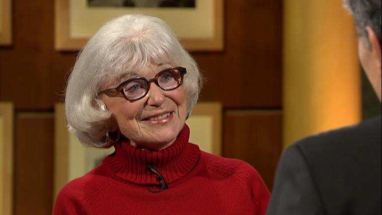 "Jeannie Morris joins Phil Ponce on ""Chicago Tonight"" on March 31, 2014."