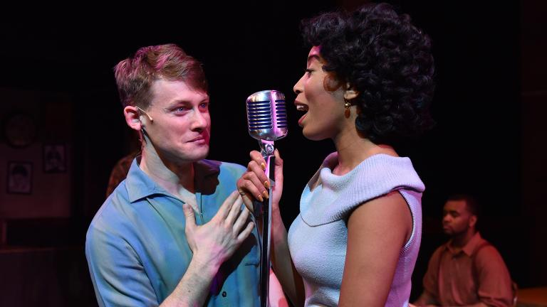 """Liam Quealy as Huey Calhoun and Aeriel Williams as Felicia Farrell in """"Memphis"""" from Porchlight Music Theatre. (Photo by Michael Courier)"""