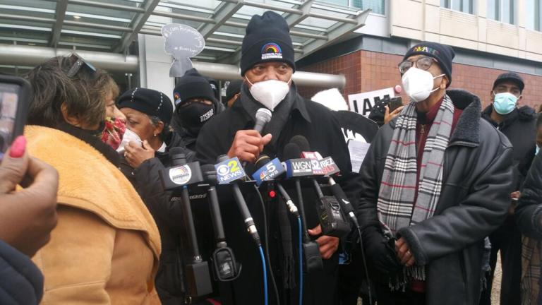 The Rev. Jesse Jackson Sr. speaks outside Chicago police headquarters during a march Sunday, Dec. 27, 2020 in protest of the mistaken raid of a Chicago woman's home in February 2019. (Annemarie Mannion / WTTW News)