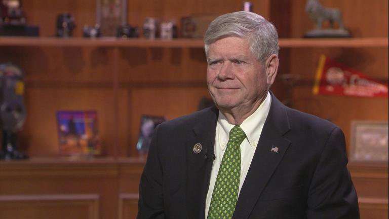"State Sen. Jim Oberweis appears on ""Chicago Tonight"" on March 18, 2020. (WTTW News)"
