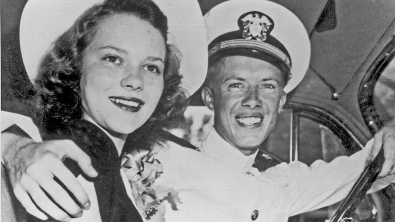 Jimmy and Rosalynn Carter's wedding photo. (Courtesy the Jimmy Carter Presidential Library)