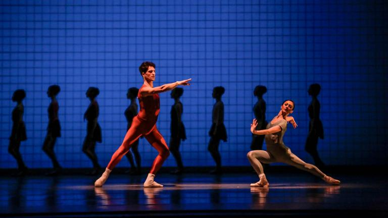 "Dancers Temur Suluashvili and Victoria Jaiani in ""Glass Pieces."" )Photo by Cheryl Mann)"