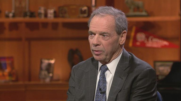 "Outgoing Illinois Senate President John Cullerton appears on ""Chicago Tonight"" on Jan. 13, 2020. (WTTW News)"