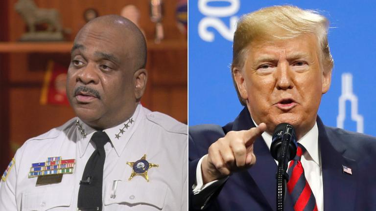 """Chicago Police Superintendent Eddie Johnson on """"Chicago Tonight"""" in 2018, left, and President Donald Trump in Chicago on Oct. 28, 2019. (WTTW News, left, AP Photo / Charles Rex Arbogast, right)"""