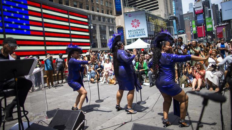 Selena Quinn, from left, LaVon Fisher-Wilson and Traci Coleman perform during a free outdoor event organized by The Broadway League as Juneteenth's celebrations take place at Times Square Saturday, June 19, 2021, in New York. (AP Photo / Eduardo Munoz Alvarez)