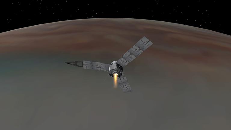 This illustration depicts NASA's Juno spacecraft successfully entering Jupiter's orbit. (Credits: NASA/JPL-Caltech)