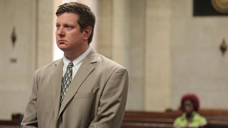 Chicago police Officer Jason Van Dyke listens to court arguments during a hearing Tuesday, July 31, 2018 at the Leighton Criminal Court Building in Chicago. Van Dyke is charged with first-degree murder in the shooting death of Laquan McDonald. (Antonio Perez / Chicago Tribune / Pool)