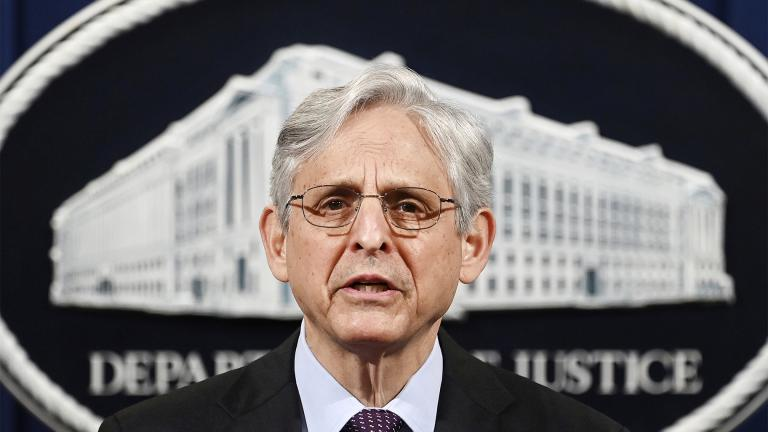 FILE - In this April 26, 2021, file photo Attorney General Merrick Garland speaks at the Department of Justice in Washington. (Mandel Ngan / Pool via AP)