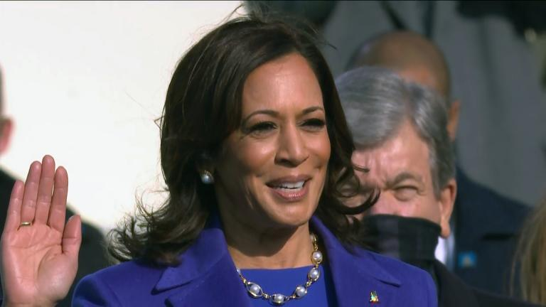 Kamala Harris is sworn in as vice president during the 59th Presidential Inauguration at the U.S. Capitol on Wednesday, Jan. 20, 2021. (WTTW News via CNN)