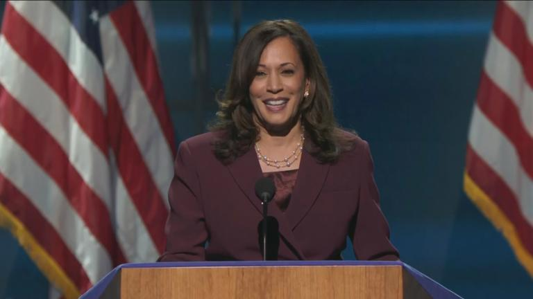 Kamala Harris, a member of the Alpha Kappa Alpha sorority, makes history by accepting the Democratic nomination for vice president. (WTTW News via CNN)