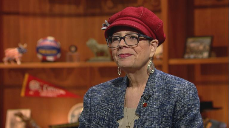 """Karen Lewis appears on """"Chicago Tonight"""" in March 2016."""