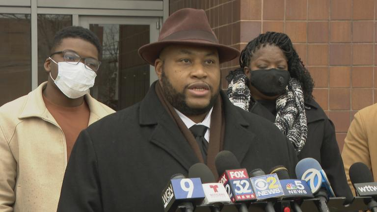 Keenan Saulter, the lawyer representing Anjanette Young, speaks during a press conference Wednesday, Dec. 16, 2020. (WTTW News)