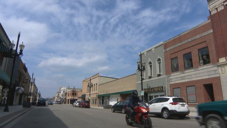 A scene from downtown Kenosha, Wisconsin, on Tuesday, April 7, 2020. (WTTW News)